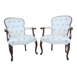 Mahogany Queen Anne Style Open Arm Chairs - A Pair For Sale