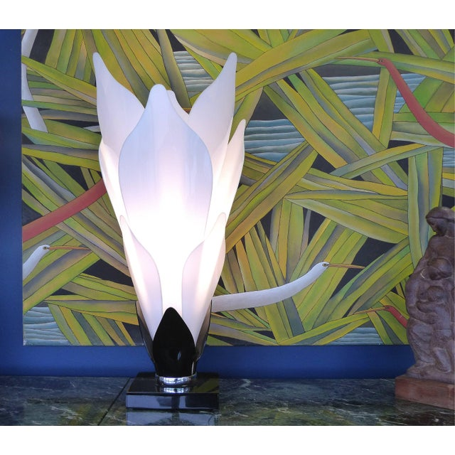 Art Deco Sculptural Lucite Petals Table Lamps - a Pair For Sale - Image 3 of 8