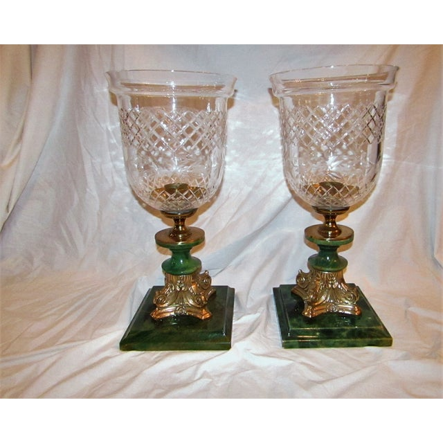 Alabaster 1990s Transitional Cut Glass Hurricane Lamps - a Pair For Sale - Image 7 of 7