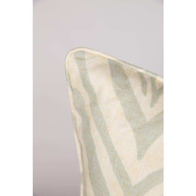 Seafoam Green Linen Zebra Pillows - Pair - Image 3 of 3