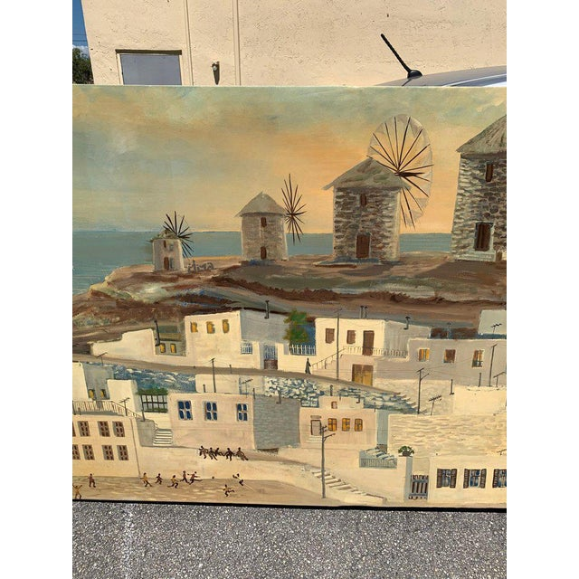 Monumental Oil Painting Mykonos Island Greece Signed by G.Tsitsilianos 1986 For Sale In Miami - Image 6 of 13