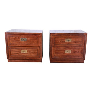 Henredon Campaign Style Nightstands, Pair For Sale