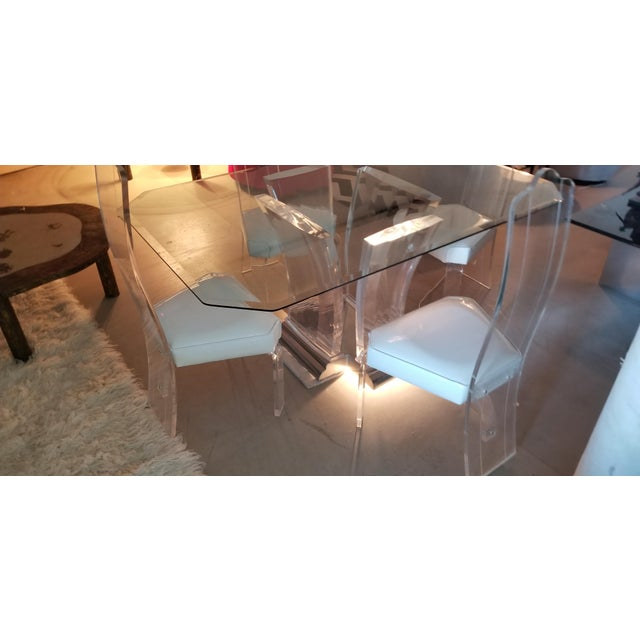 1980's Jeffrey Bigelow Lucite & Nickel Dining Table For Sale In New York - Image 6 of 7