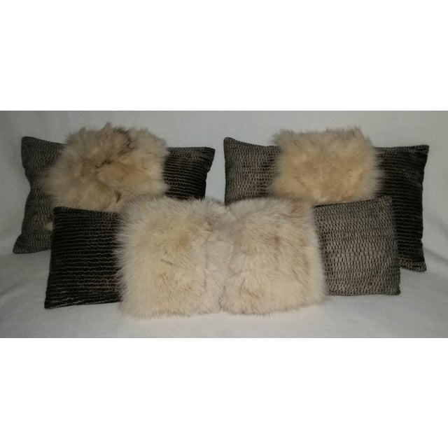 Contemporary White Fox and Silvery Green Pillow For Sale - Image 4 of 6