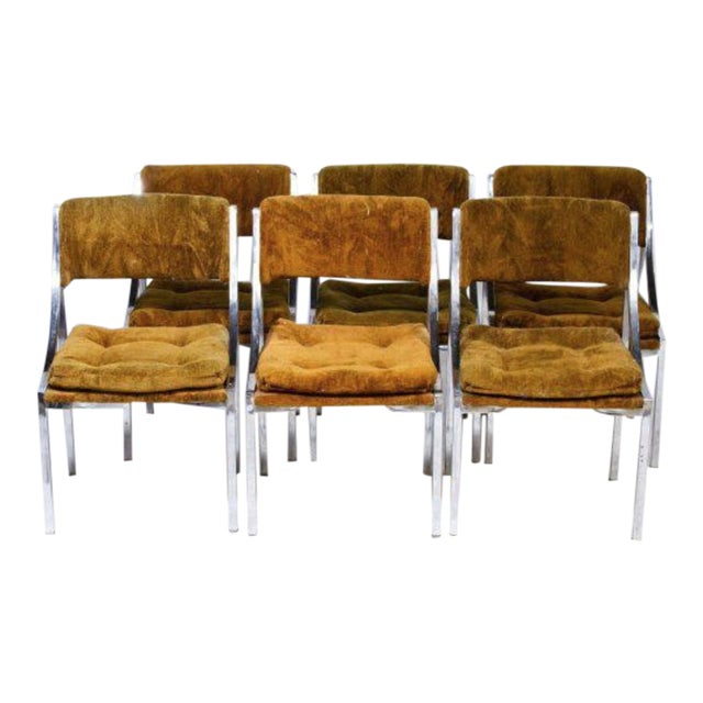 Chrome Dining Chairs with Gold Upholstery - Set of 6 - Image 1 of 3