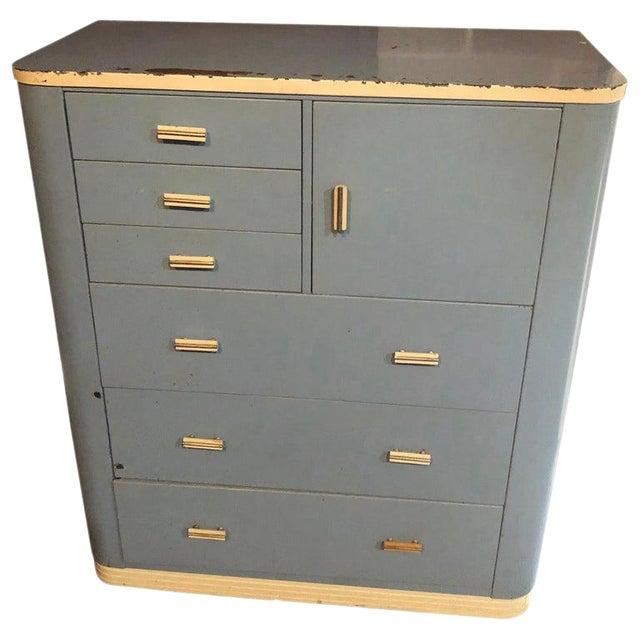 Dresser Highboy by Norman Bel Geddes for Simmons Circa 1930s Baby Blue and White For Sale