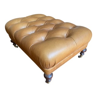 Kravet Custom Brown Large Leather Tufted Ottoman For Sale