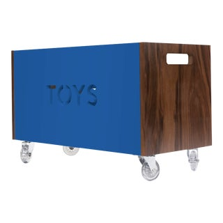 Toy Box Chest on Casters in Walnut With Pacific Blue Finish For Sale