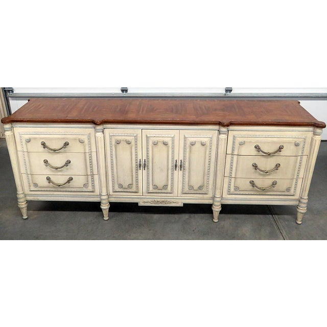 Louis XV Style Fruitwood Top Distressed Painted Sideboard For Sale - Image 13 of 13