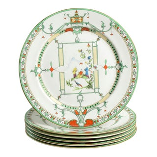 1950s Royal Worcester Chinoiserie Dinner Plates - Set of 6 For Sale
