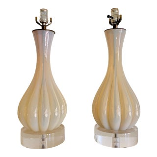 1950s Mid Century Murano Lobed Opalescent Glass Lamps - a Pair For Sale