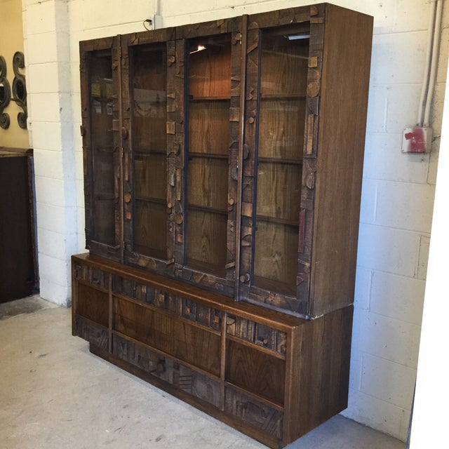 Lane  brutalist Lane Brutalist Style Lighted China Cabinet For Sale - Image 4 of 10