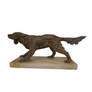 Vintage Paper Weight Retriever/Setter Dog on Marble Base For Sale