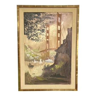 "1960s ""Golden Gate Bridge"" Architectural Painting by John Irwin Friedman, Framed For Sale"