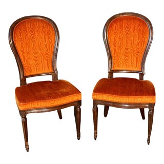 Henredon Mid-Century Modern Orange Velvet Dining Chairs - a Pair