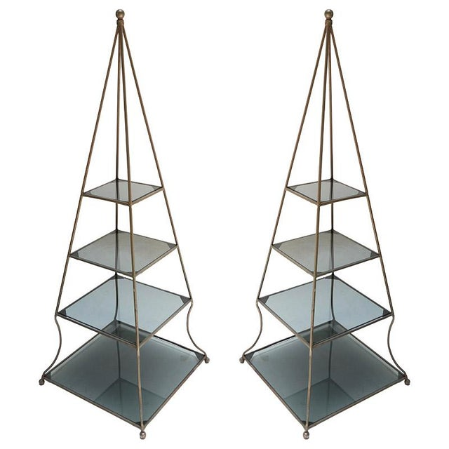 Metal 1960s Pyramid Étagères-A Pair For Sale - Image 7 of 7