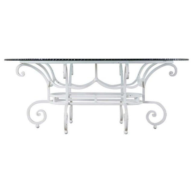 Oval Wrought Iron Painted Garden Dining Table For Sale - Image 13 of 13