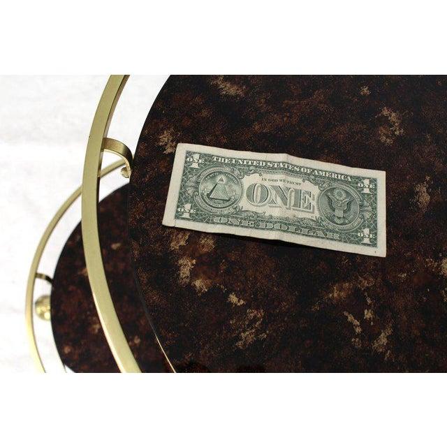 1970s 1970s Mid-Century Modern Brass Tortoise Finish Glass Bar Serving Cart For Sale - Image 5 of 8