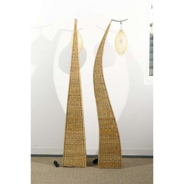 Transitional Fantastic Pair of Giant Raffia Floor Lamps For Sale - Image 3 of 10