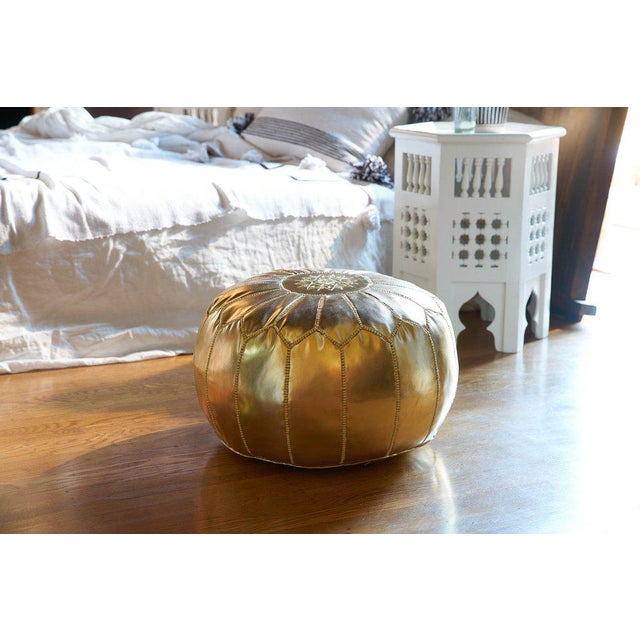 Embroidered Faux Metallic Leather Pouf, Bronze - Image 4 of 5