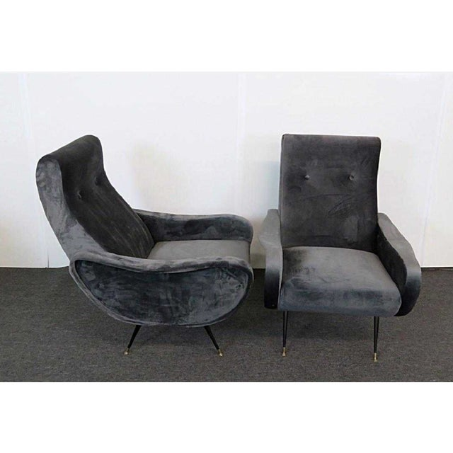 Marco Zanuso 1950s Vintage Mid-Century Modern Italian Zanuso Lounge Chairs - a Pair For Sale - Image 4 of 4
