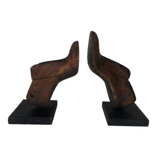 Vintage Wood Shoe Mold Bookends - a Pair For Sale