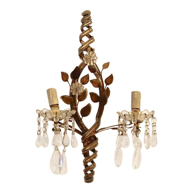 Pair of Sconces with Pendants, 1940s For Sale