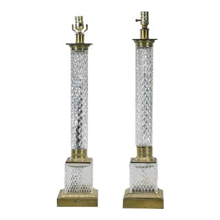 Vintage Baccarat French Cut Crystal Column Form Table Lamps - a Pair