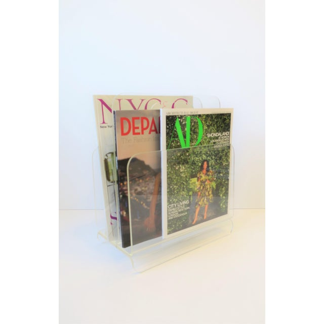 Transparent Clear Acrylic Magazine Holder, Circa 1976 For Sale - Image 8 of 13