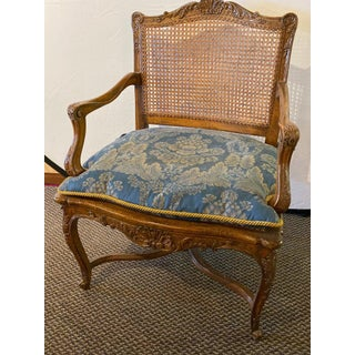 Provincial Louis XV Style Carved Cane Bergère or Office Armchair Preview