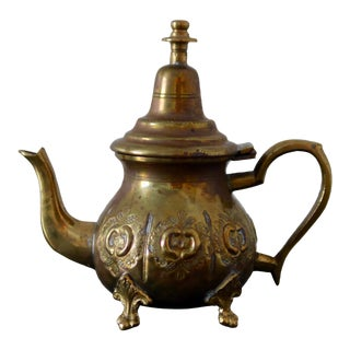 Vintage Moroccan Brass Teapot For Sale