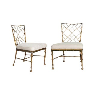 Vintage Chippendale Brass Bamboo Chairs - a Pair