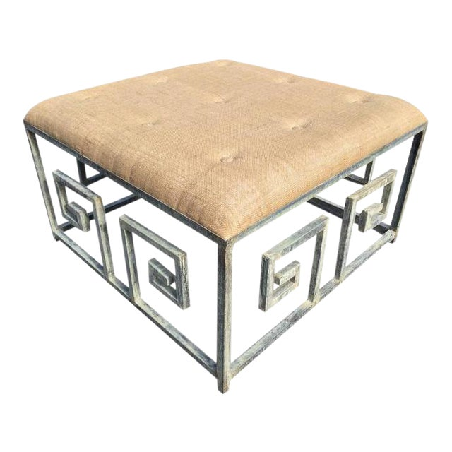 Greek Key Iron and Burlap Upholstery Ottoman/Coffee Table For Sale