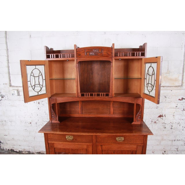 American Arts & Crafts Carved Oak Sideboard With Hutch For Sale - Image 10 of 13