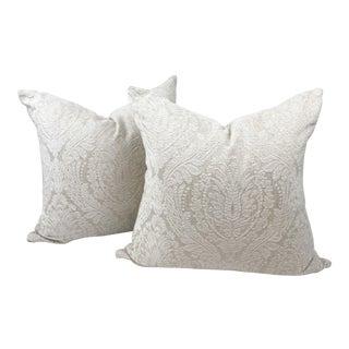 Custom Maxwell Telafina White Linen Damask Throw Pillows - a Pair For Sale