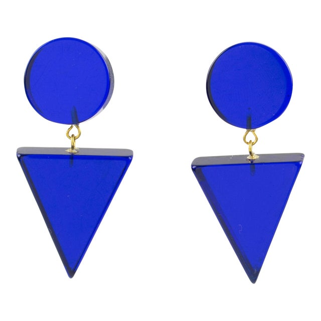 1980s Geometric Lucite Clip-On Earrings Intense Royal Blue For Sale