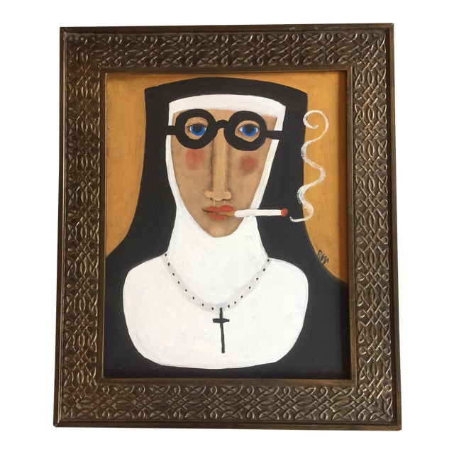 """""""Smoking Nun"""" Contemporary Folk Painting - Image 1 of 5"""