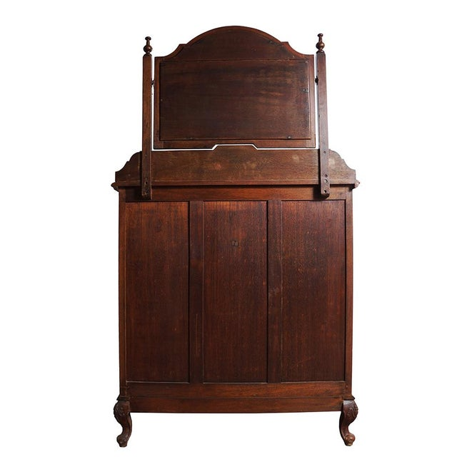 Brown 20th Century Chinese Raise Carved Dresser With Mirror For Sale - Image 8 of 9