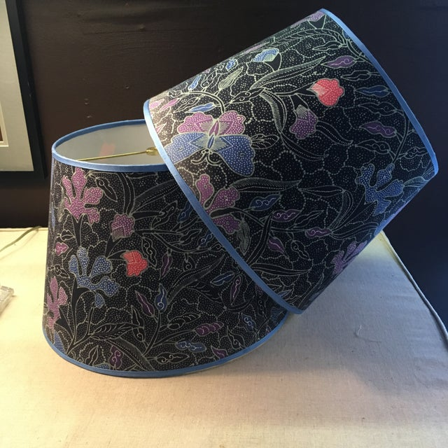 Vintage Batik Lampshades - a Pair For Sale - Image 4 of 4