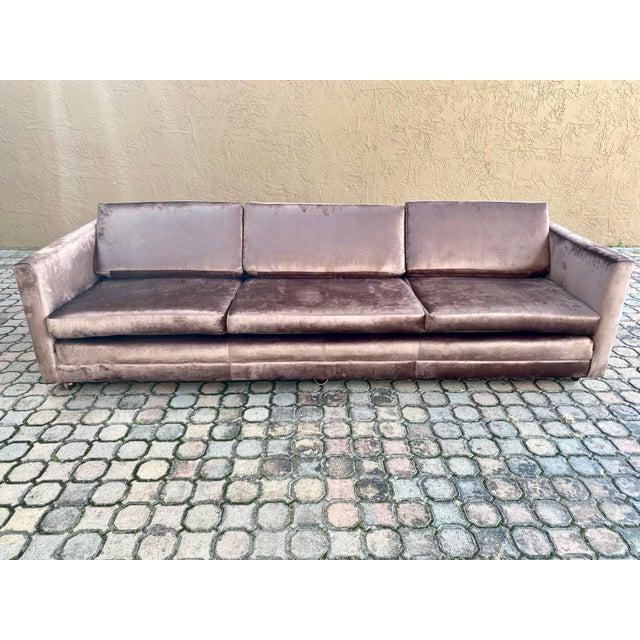 1970s Restored Selig Tuxedo Sofa in a Velvet Brown For Sale - Image 5 of 12