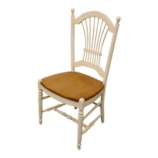 20th Century French Country Ethan Allen White Wheat Back Dining Side Chair For Sale