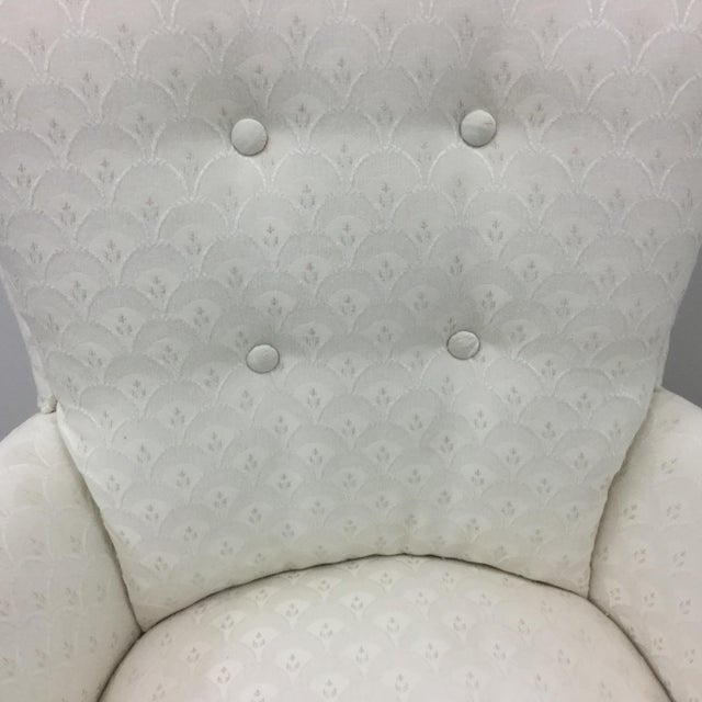 English Vintage Skirted Boudoir Slipper Chair in Ivory Damask Upholstery For Sale - Image 3 of 11
