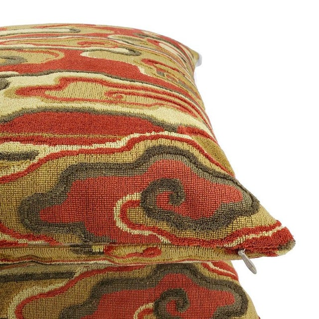 """2010s Brunschwig & Fils Alto Velvet in Red and Camel Pillow Cover - 20"""" X 20"""" Red and Cream Linen Velvet Abstract Swirl Design Cushion Case For Sale - Image 5 of 7"""