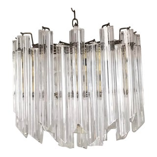 1970s Mid-Century Modern Two-Tier Stepped Triedre Chandelier in the Style of Camer Lucite Rods For Sale