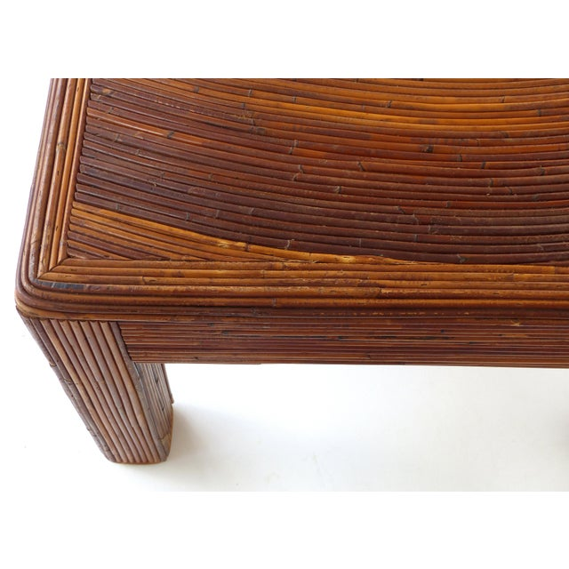 Pencil Reed Mid-Century Modern Coffee Table in the Style of Gabriella Crespi For Sale - Image 4 of 11