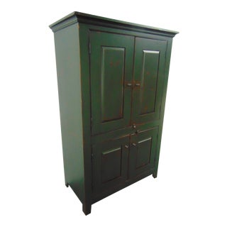 Country Style Benchmade Green Raised Panel Pantry Cupboard For Sale