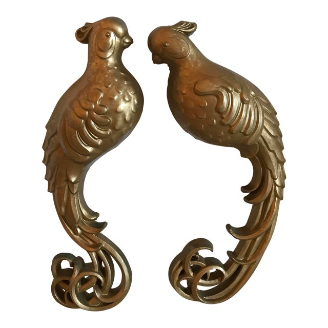 Mid-Century Modern Gold Bird Wall Hangings - a Pair For Sale