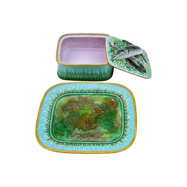 Vintage George Jones Majolica Box & Plate Set - Image 2 of 5