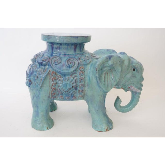 Mid-Century Elephant Figure Garden Stool or Drinks Table Blue Glazed Terra Cotta From Italy For Sale - Image 4 of 11