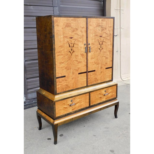 Art Deco 1920s Swedish Art Deco Inlaid Armoire For Sale - Image 3 of 13